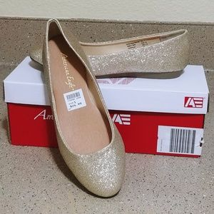 American Eagle gold glitter ballet flat